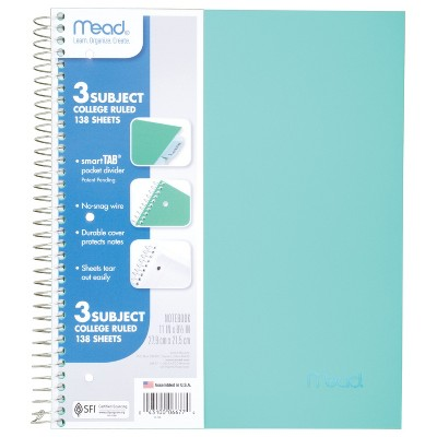 Spiral Notebook 3 Subject College Ruled Assorted Colors - Mead
