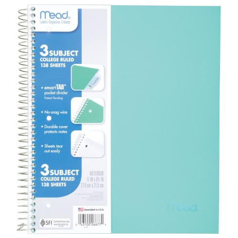 Spiral Notebook 3 Subject College Ruled Orted Colors Mead