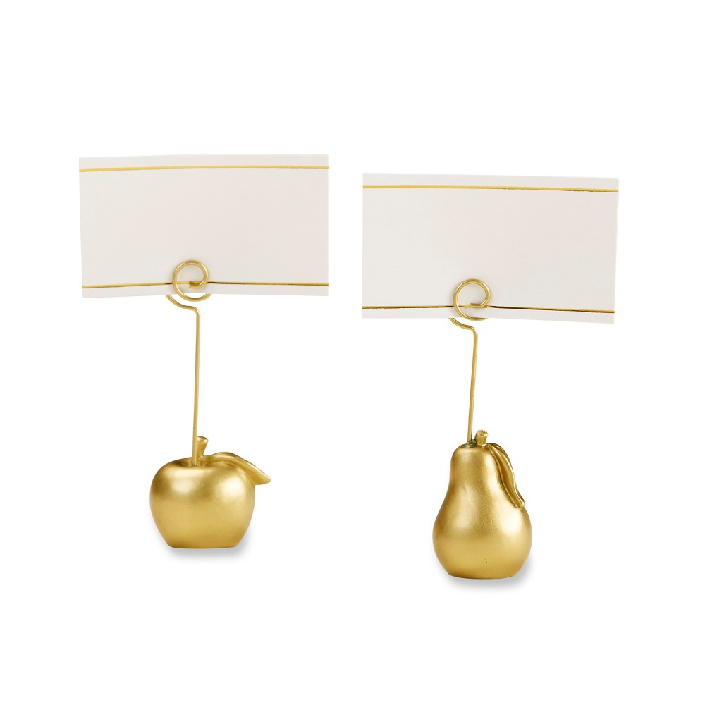Kate Aspen Set Of 6 Apple and Pear Place Card Holder Gold