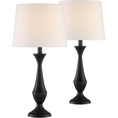 360 Lighting Modern Accent Table Lamps Set of 2 Black Metal White Linen Tapered Drum Shade Living Room Bedroom Bedside Nightstand