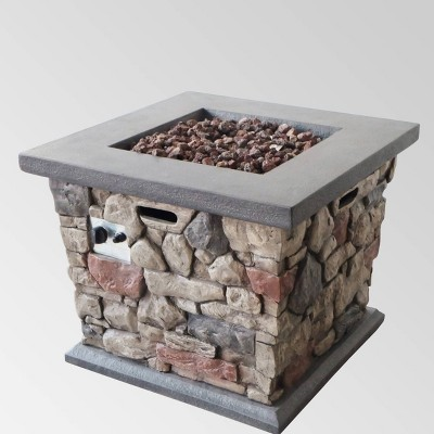 Carson Outdoor Stone Square Fire Pit - Gray - Christopher Knight Home