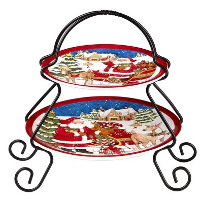 Earthenware 2-Tier Santa's Workshop Serving Tray with Metal Stand- Certified International
