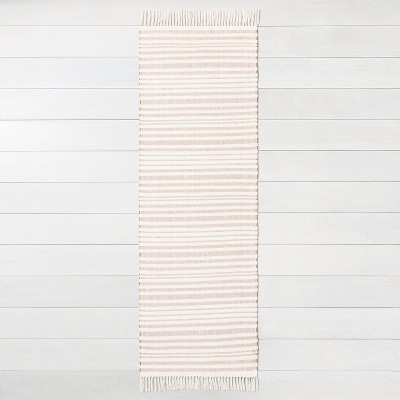 """2'x4""""x7' Stripe with Fringe Runner Rusty Red - Hearth & Hand™ with Magnolia"""