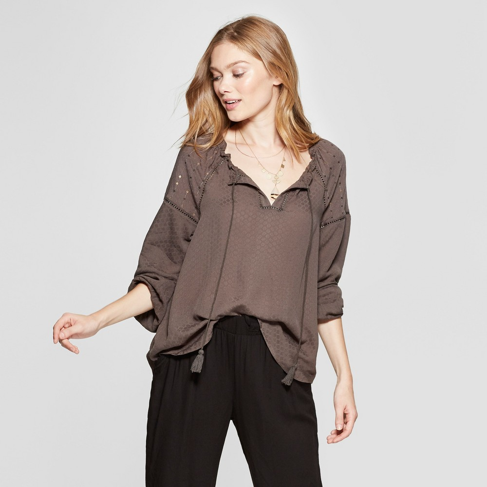 Women's Long Sleeve Peasant Top - Knox Rose Olive S, Green