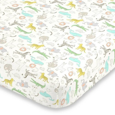 Carter's Colorful Zoo Animals Super Soft Fitted Crib Sheet