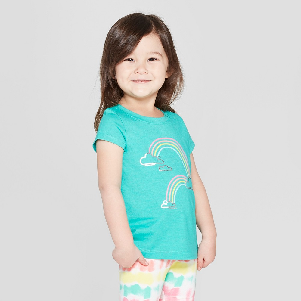 Toddler Girls' Short Sleeve 'Rainbow' Graphic T-Shirt - Cat & Jack Green 5T