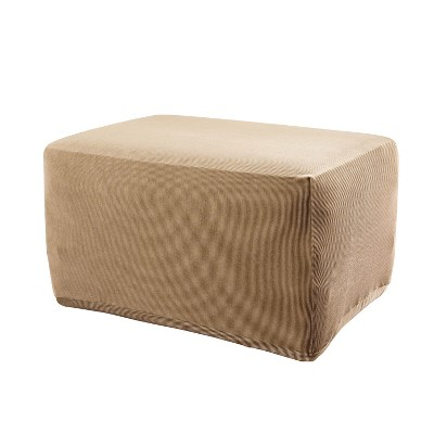Stretch Stripe Ottoman Slipcover Sand - Sure Fit