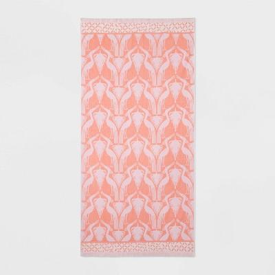 XL Jacquard Heron with Fringe Beach Towel Pink - Opalhouse™
