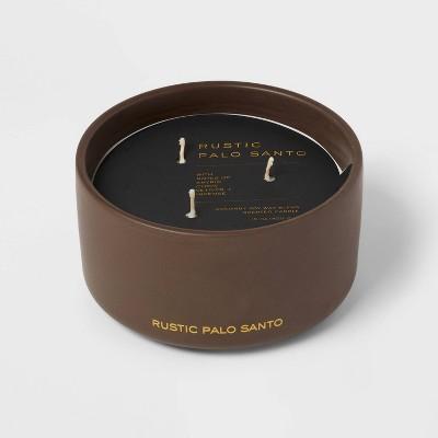 15oz Ceremic Jar 3-Wick Black Lable Rustic Palo Santo Candle - Threshold™
