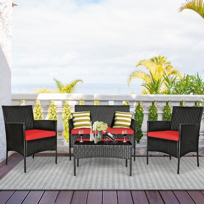 Costway 4PCS Patio Rattan Furniture Set Cushioned Sofa Coffee Table Backyard Turquoise\Red