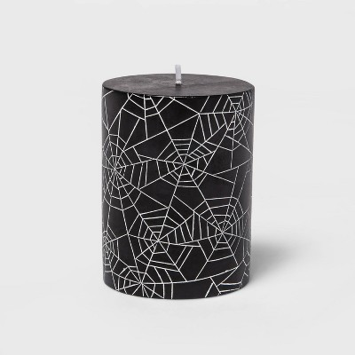 "3""x4"" Black/White Spider Web Halloween Pillar Candle - Hyde & EEK! Boutique™"
