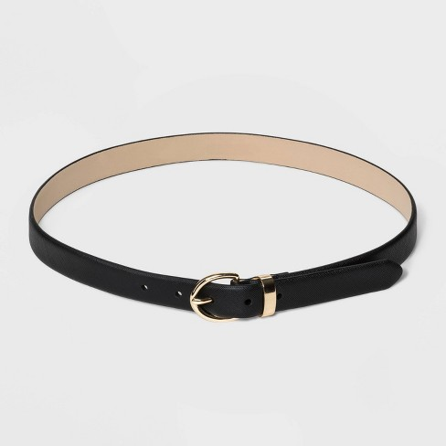 Women's Saffiano Belt - A New Day™ Black - image 1 of 2