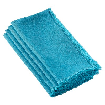 Fringed Design Stone Washed Napkins Ocean Blue (Set of 4)