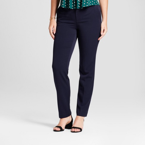 Women's Straight Leg Curvy Bi-Stretch Twill Pants - A New Day™ Federal Blue 18S - image 1 of 3