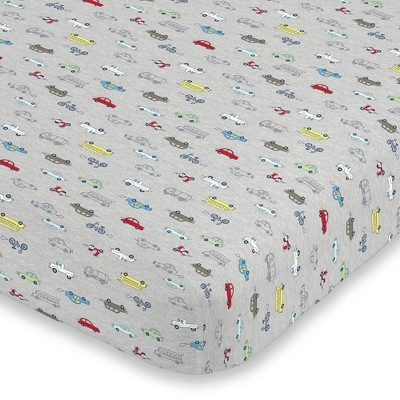 Carter's Busy Cars and Bikes Crib Sheet Super Soft Mini Crib Fitted Sheet