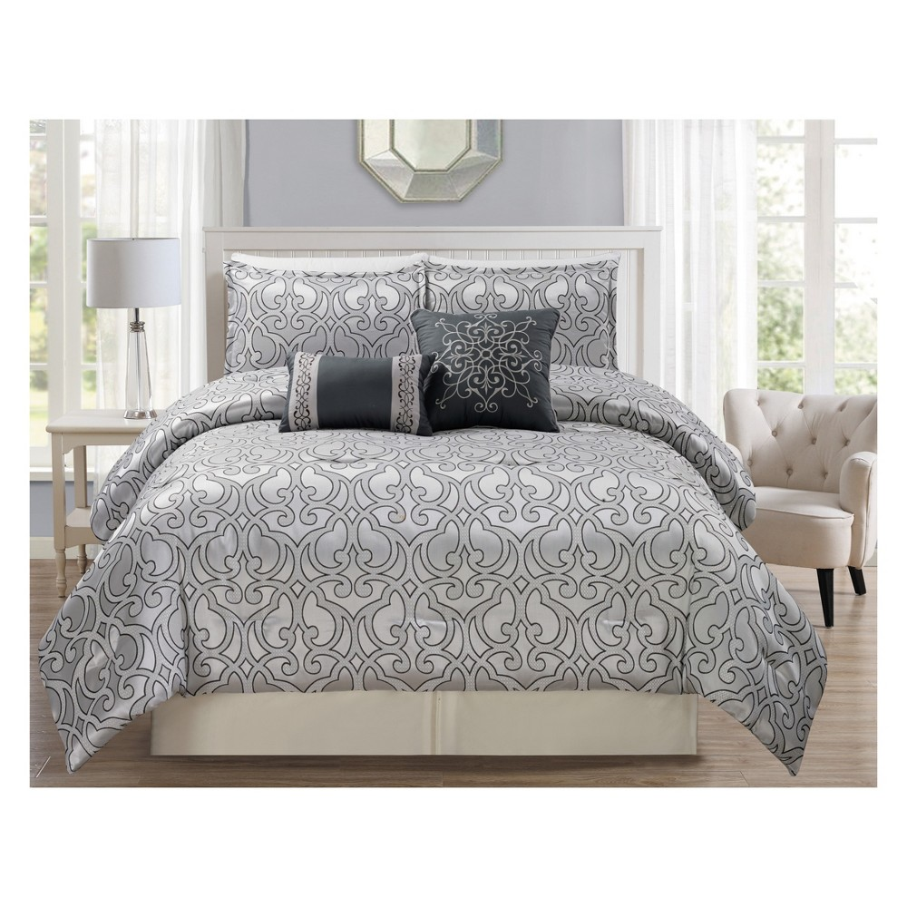 5pc King Severino Comforter Set Silver - Riverbrook Home