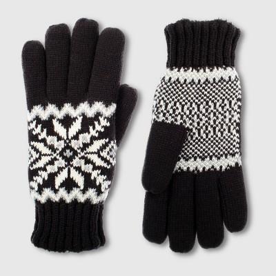 Isotoner Women's smartDRI Knit Snowflake Gloves - Black One Size