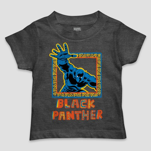 Toddler Boys' Marvel Black Panther Framed Icon Short Sleeve T-Shirt - Charcoal Heather - image 1 of 1