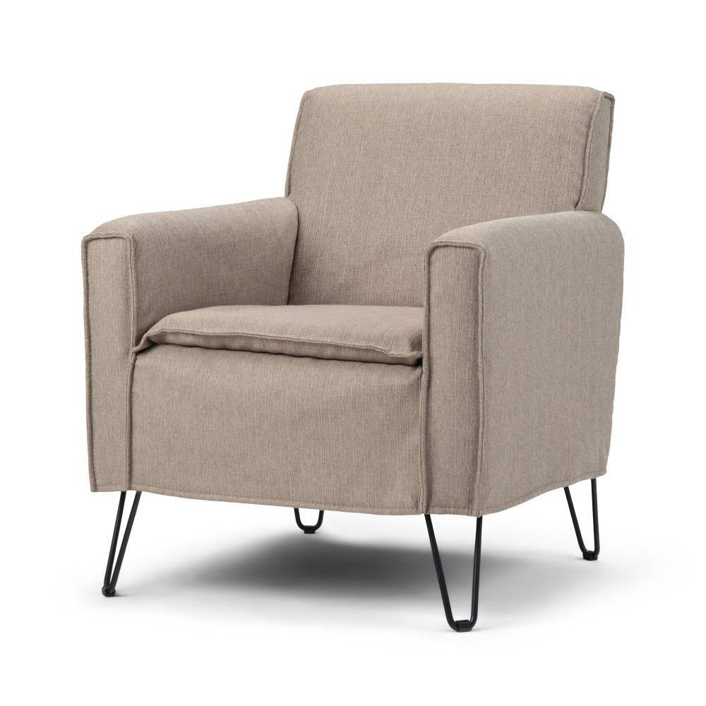 "Image of ""28"""" Edward Accent Chair with Hairpin Legs Beige - Wyndenhall"""
