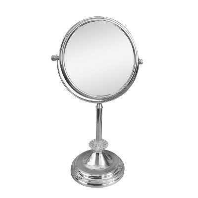 Brooklyn Freestanding Bath Magnifying Makeup Mirror Light Silver 13  - Elegant Home Fashions