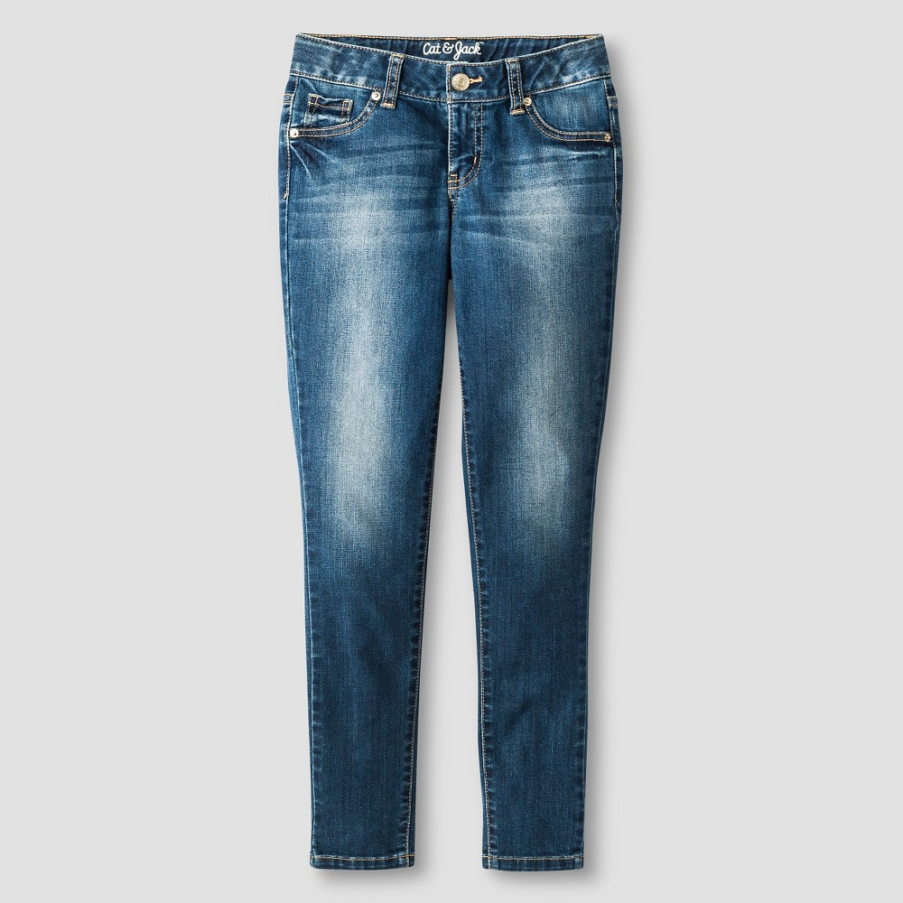Girls' Super Skinny Jeans - Cat & Jack Medium Wash 6, Blue