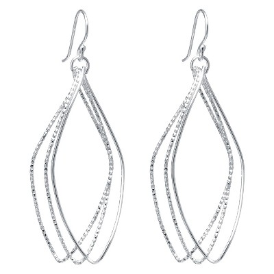 Silver Plated Brass Large Diamond Cut Marquise Shape Drop Earrings