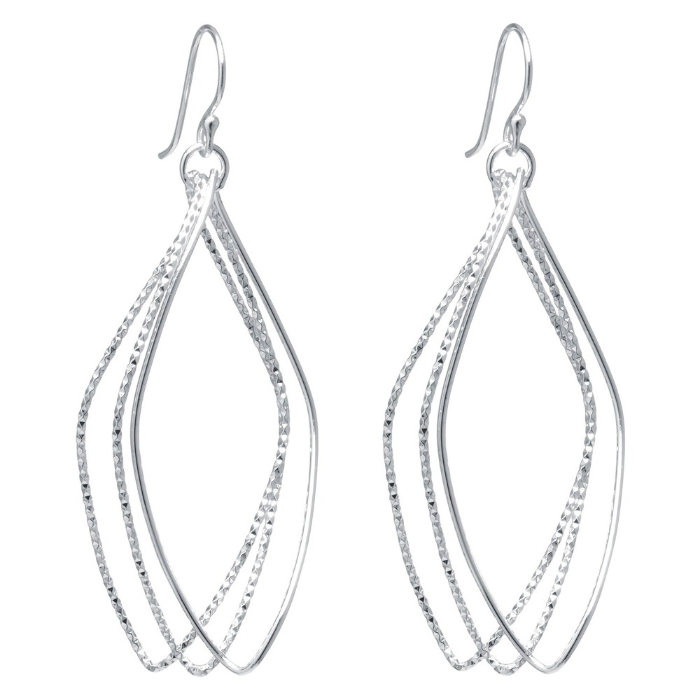 Target Silver Plated Brass Large Diamond Cut Marquise Shape Drop Earrings, Girl's, Sterling