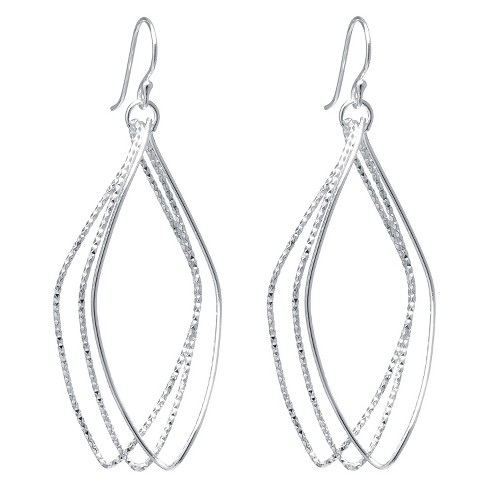 Silver Plated Brass Large Diamond Cut Marquise Shape Drop Earrings - image 1 of 1