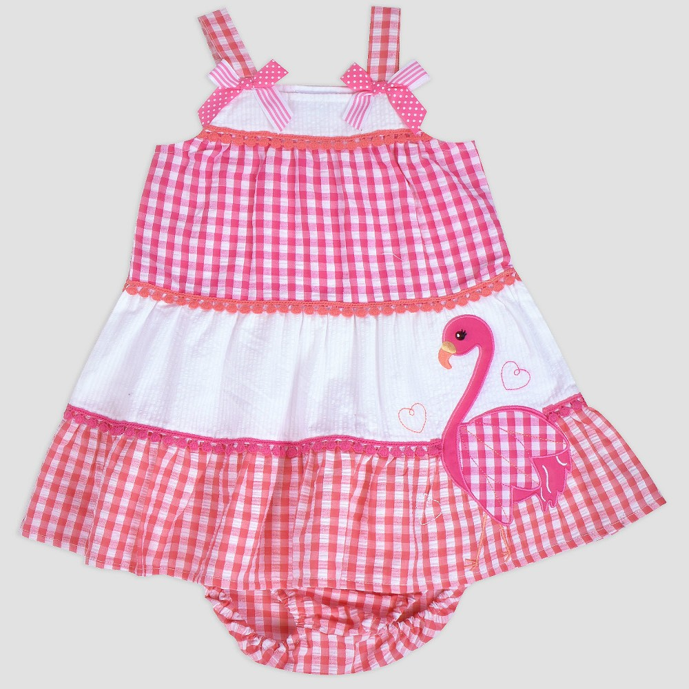 Baby Girls' Tier Flamingo Seersucker Dress Nate & Annee Pink 6-9M, Size: 9M, Multicolored