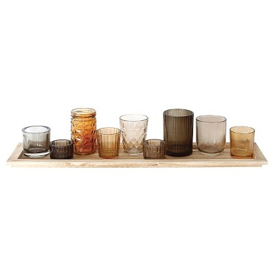 Wood Tray with 9 Glass Votive Holders - 3R Studios