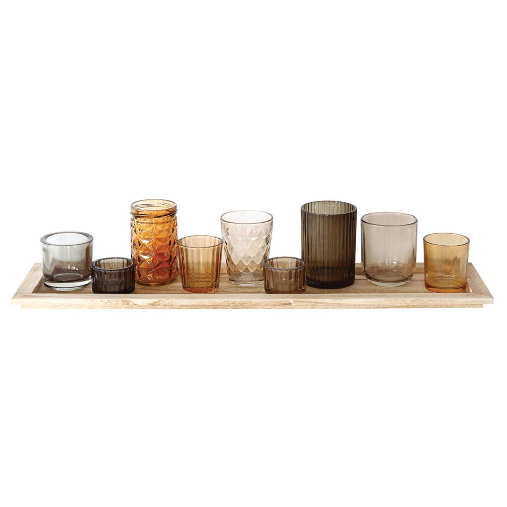 Wood Tray With 9 Glass Votive Holders 3r Studios