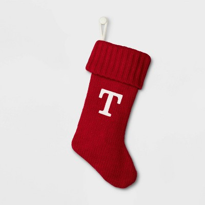 Knit Monogram Christmas Stocking Red T - Wondershop™
