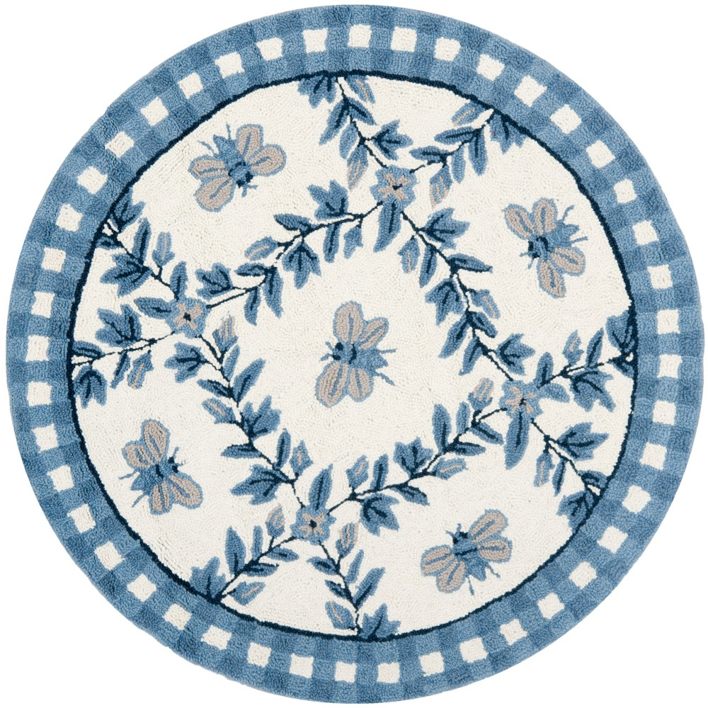 3' Bee Hooked Round Accent Rug Ivory/Blue - Safavieh