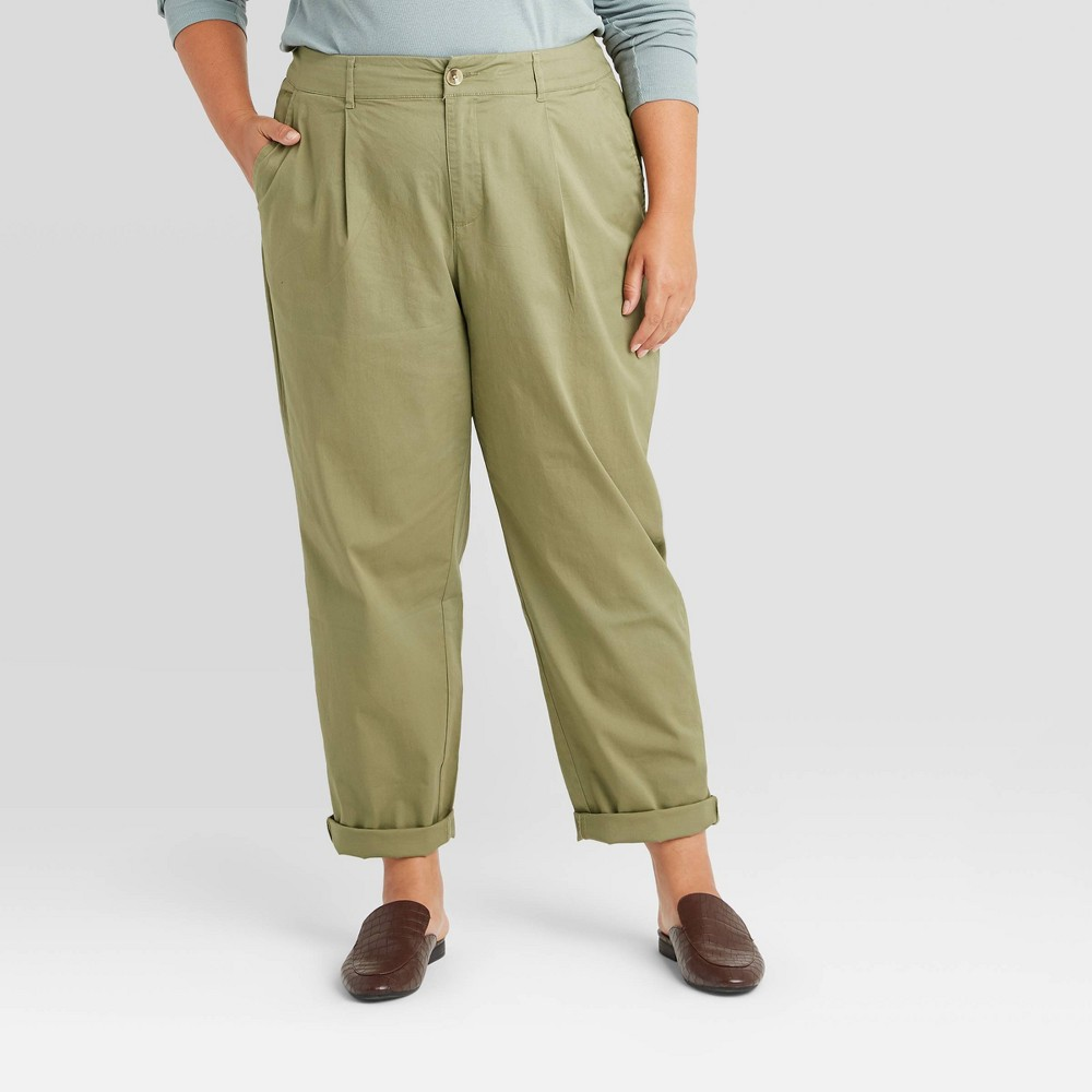 Best Women's Plus Size High-Rise Straight Leg Ankle Pants - A New Day™