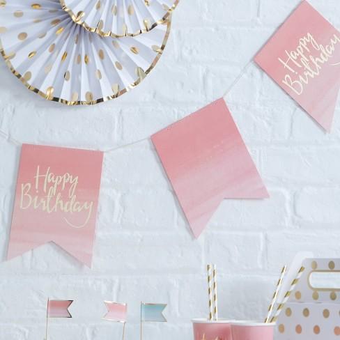 """Happy Birthday"" Bunting Pink - image 1 of 2"