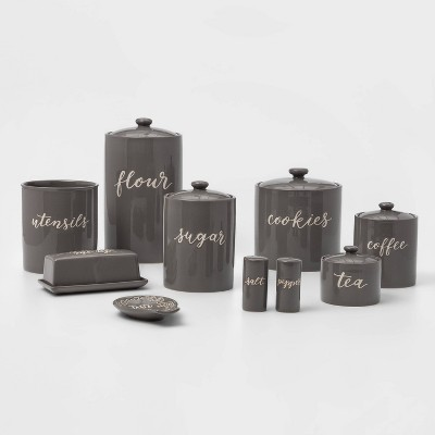 9pc Stoneware Kitchen Canister Set Gray - Threshold™