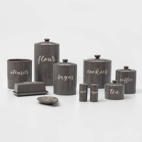 9pc Stoneware Kitchen Canister Set Gray - Threshold™