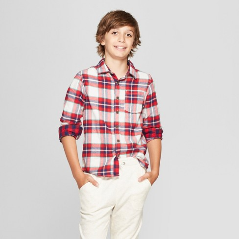 Boys' Classic Flannel Plaid Long Sleeve Button-Down Shirt - Cat & Jack™ Red/White - image 1 of 3
