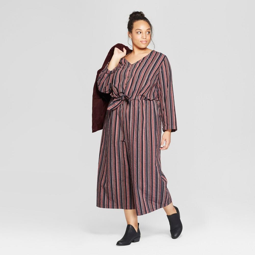 Women's Plus Size Striped Long Sleeve Tie Front Jumpsuit - Universal Thread Navy X, Blue