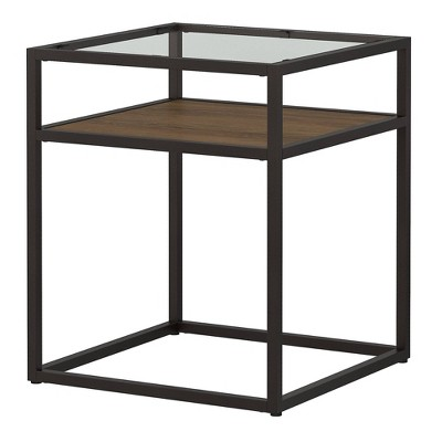 Anthropology Glass Top End Table Brown - Bush Furniture