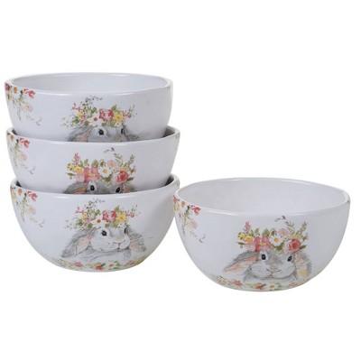 26oz 4pk Earthenware Sweet Bunny Assorted Ice Cream Bowls - Certified International