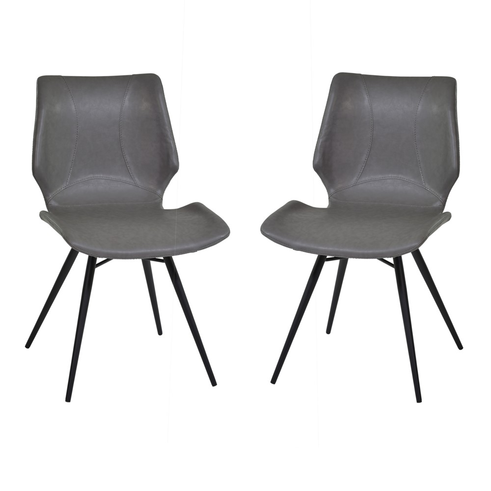Zurich Dining Chair Set of 2 in Vintage Gray Faux Leather and Black Metal Finish - Armen Living