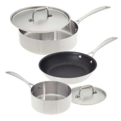 American Kitchen Cookware Single and Loving It Stainless Steel 5 Piece Cookware Set