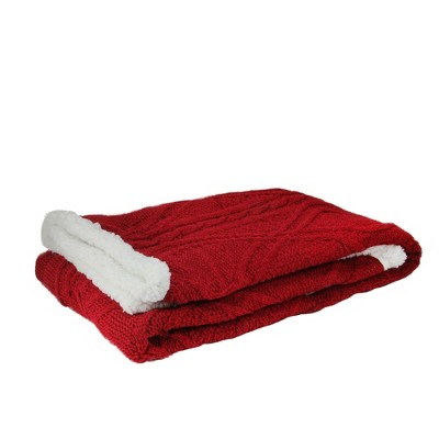 "Northlight 50"" x 60"" Cable Knit Plush Sherpa Throw Blanket - Red/White"
