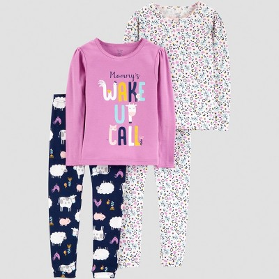 Baby Girls' 4pc Wake Up Call Pajama Set - Just One You® made by carter's Purple 18M