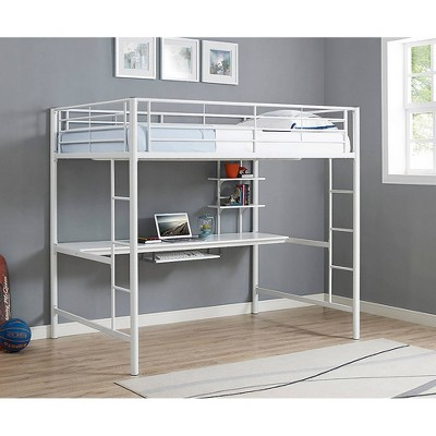 Premium Metal Full Size Loft Bed With Wood Workstation   White   Saracina  Home