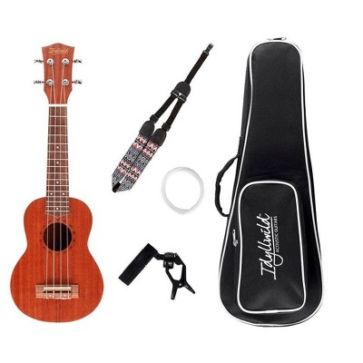 Monoprice Sapele Soprano Ukulele With Gig Bag, Tuner, Strap, And Extra Set of Strings, Ideal For Learning Simple, Fun Songs - Idyllwild Series