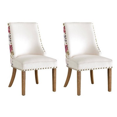 Set of 2 Eden Classic Upholstered Dining Chair White - Treasure Trove Accents