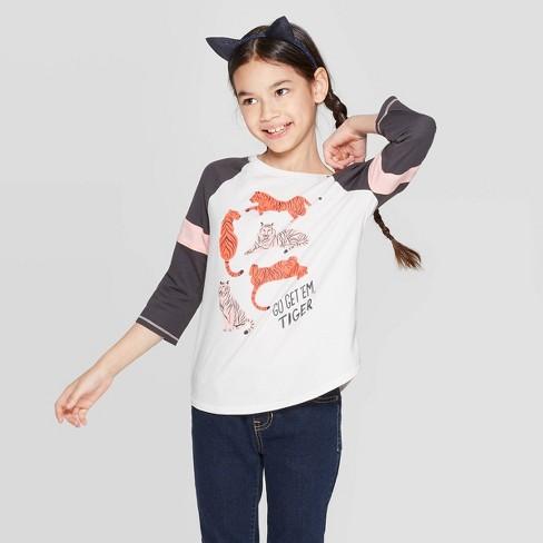 Girls' 3/4 Sleeve Tiger Print Baseball T-Shirt - Cat & Jack™ Cream - image 1 of 3