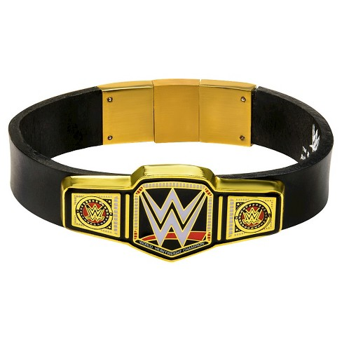 "Men's WWE™ Championship Title Stainless Steel Gold IP in Black Leather Bracelet (8.5"") - image 1 of 2"